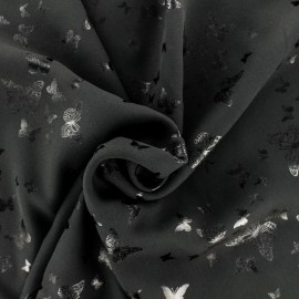 Tissu crêpe Chemisier papillon - noir x 10 cm