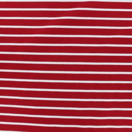 Quilted Jersey Fabric white stripes - red background x 10cm