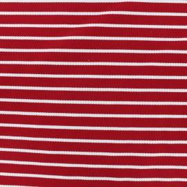 Tissu Jersey piqué rayures blanches - rouge x 10cm