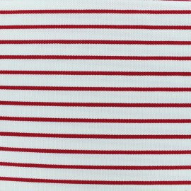 Quilted Jersey Fabric red stripes - white background x 10cm