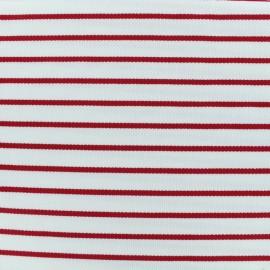 Tissu Jersey piqué rayures rouges - blanc x 10cm