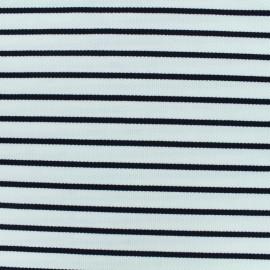 Tissu Jersey piqué rayures marine - blanc x 10cm