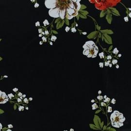 Rayon fabric field flowers - black x 30cm