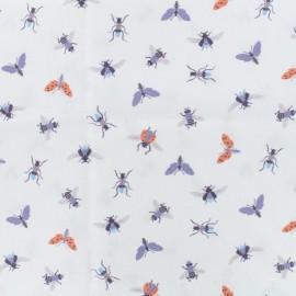 Tissu coton popeline bugs - parme x 10cm