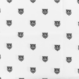 Tissu coton popeline grizzly - blanc x 10cm