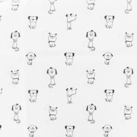 Cotton poplin fabric funny dogs - white x 10cm