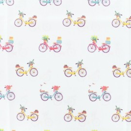 Tissu coton popeline Bicycle - blanc x 10cm