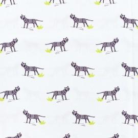 Cotton poplin fabric oh tiger - white x 10cm