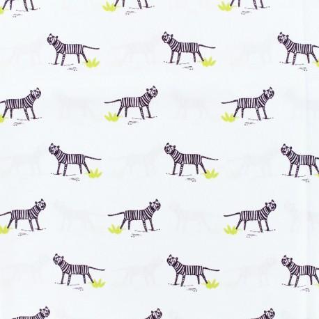 Tissu coton popeline oh tiger - blanc x 10cm