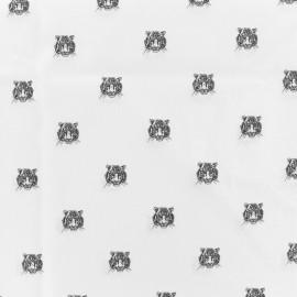 Tissu coton popeline Shere Kan - blanc x 10cm