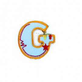 Embroidered iron-on patch Kids letters - G