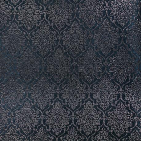 Tissu jacquard ornement - noir et cuivre x 10cm