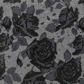 Tissu jacquard rock'n roses - noir/gris et or x 10cm