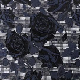 Tissu jacquard rock'n roses - bleu/noir et or x 10cm