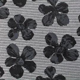 ♥ Coupon 230 cm X 140 cm ♥ Tissu jacquard cosmos flower - noir et gris