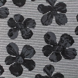 Jacquard fabric cosmos flowers - black and grey x 10cm