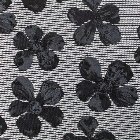 Tissu jacquard cosmos flower - noir et gris x 10cm