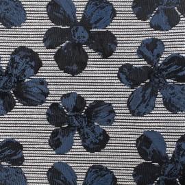 ♥ Coupon 10 cm X 140 cm ♥ Tissu jacquard cosmos flower - bleu noir et gris