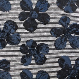 Jacquard fabric cosmos flowers - blue black and grey x 10cm