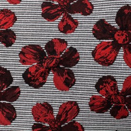 Jacquard fabric cosmos flowers - red black and grey x 10cm