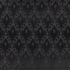 Tissu jacquard fleur de lys - noir x 10cm