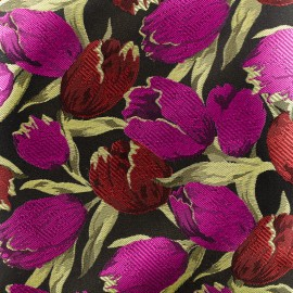Tissu jacquard tulipe - rose et rouge x 10cm