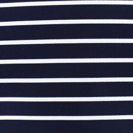 Tissu Jersey crêpe rayé - blanc sur marine x 10cm