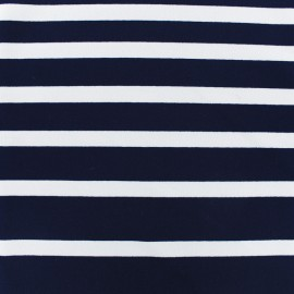 Striped Jersey Crepe Fabric - white on night blue navy x 10cm