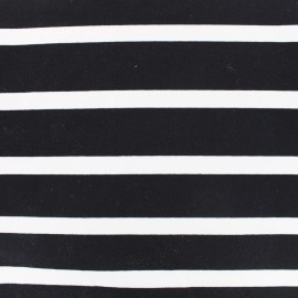 Tissu Jersey crêpe rayé - blanc sur noir x 10cm