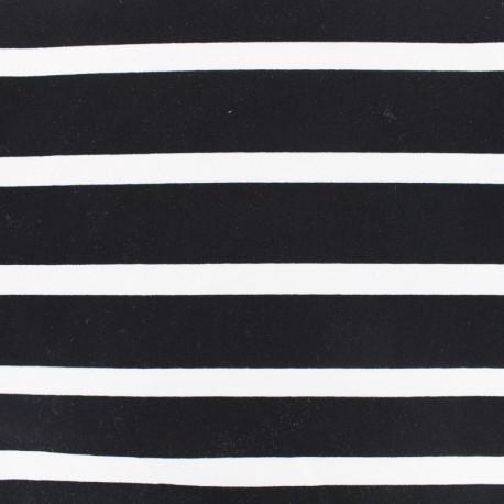 Striped Jersey Crepe Fabric - white on night black x 10cm