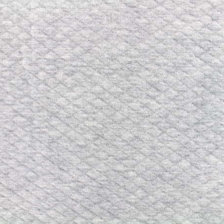 Quilted jersey fabric Diamonds 10/20 - chin light grey x 10cm