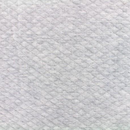 Tissu jersey matelassé losanges 10/20 - gris clair chiné x 10cm