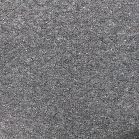 Quilted jersey fabric Diamonds 10/20 - chin and flecked grey x 10cm