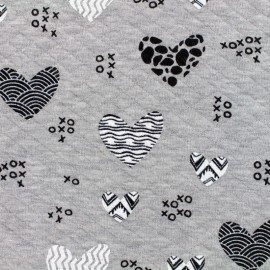 Quilted jersey fabric Diamonds 10/20 xoxo hearts - chin light grey x 10cm