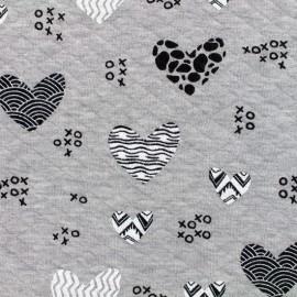 Tissu jersey matelassé losanges 10/20 xoxo coeurs - gris clair chiné x 10cm