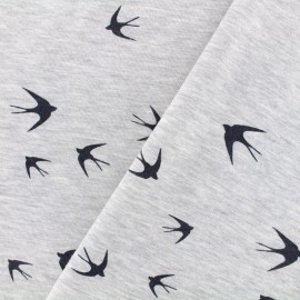 Sweatshirt fabric upside down duffel Swallow - chin light grey x 10cm