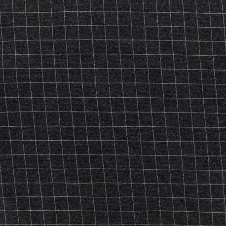 Tissu Jersey Milano carreaux - gris x 10cm