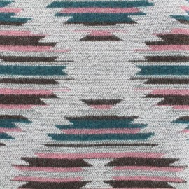 Wool fabric La Paz - pink and grey x 20cm