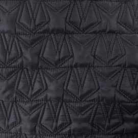Nylon quilted lining fabric stars - black x 10cm