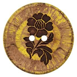 Bouton noix de coco Flower power - jaune