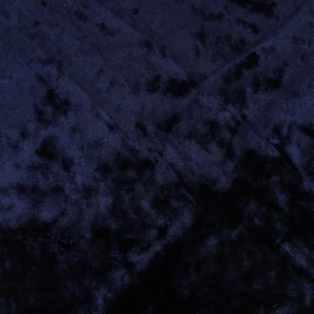 Tissu velours frappé sur jersey - bleu nuit x 10cm