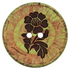 Bouton noix de coco Flower power - vert