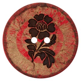 Flower Power Coconut Button - red