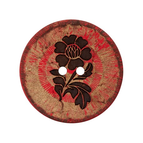 Bouton noix de coco Flower power - rouge