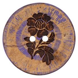 Bouton noix de coco Flower power - violet