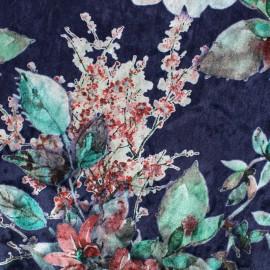 Tissu velours frappé sur jersey pivoines - bleu x 10cm
