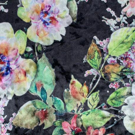 strucked stretch velvet jersey peonies fabric - black x 10cm