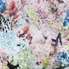 Tissu velours frappé sur jersey la bohème - rose x 10cm