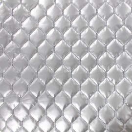 Nylon quilted lining fabric diamonds - silver x 10cm