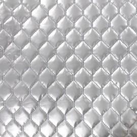 Tissu matelassé nylon doudoune losanges - argent x 10cm